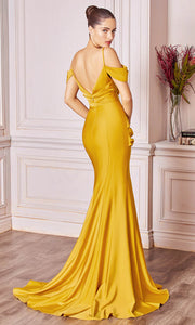 Cinderella Divine - CD942 Cold Shoulder High Slit Sheath Gown In Yellow