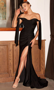 Cinderella Divine - CD943 Off-Shoulder Ruched Fitted Evening Dress In Black