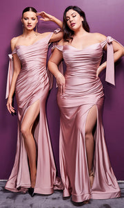 Cinderella Divine - CD943 Off-Shoulder Ruched Fitted Evening Dress In Mauve
