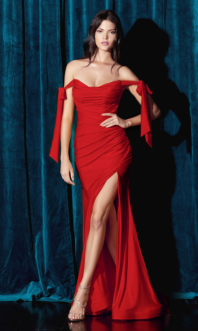Cinderella Divine - CD943 Off-Shoulder Ruched Fitted Evening Dress In Red