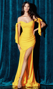 Cinderella Divine - CD943 Off-Shoulder Ruched Fitted Evening Dress In Yellow