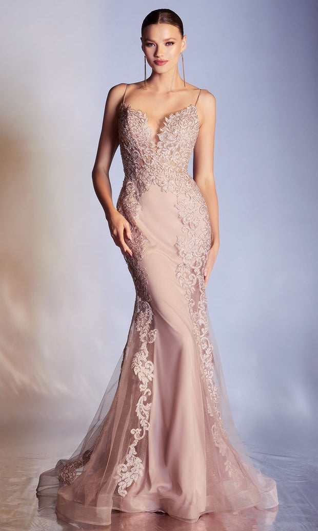 Cinderella Divine - CD945 Thin Strapped Embellished Long Gown In Pink and Neutral