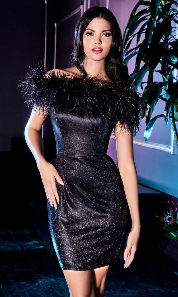 Cinderella Divine - CD946 Furry Glittered Party Dress In Black