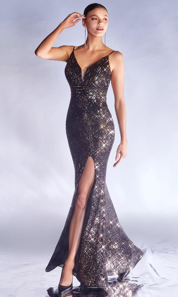 Cinderella Divine - CDS404 V Neck Sequined Evening Dress In Black and Gold