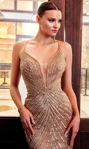 Cinderella Divine - CDS405 Gold Sequined Sheath Gown In Gold
