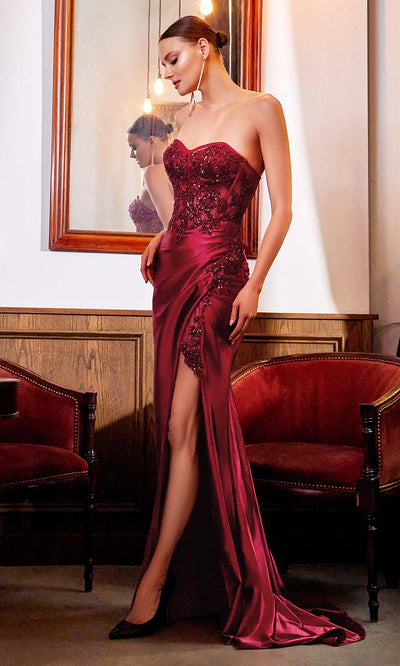 Cinderella Divine - CDS406 Strapless Embellished Fitted High Slit Gown In Red