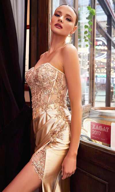 Cinderella Divine - CDS406 Strapless Embellished Fitted High Slit Gown In Champange and Gold