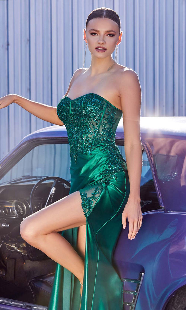Cinderella Divine - CDS406 Strapless Embellished Fitted High Slit Gown In Green
