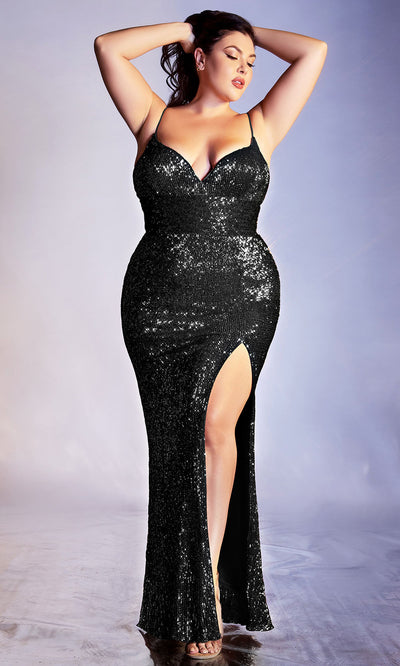 Cinderella Divine - CH180C Sequin Ornate High Slit Dress In Black