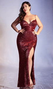 Cinderella Divine - CH180C Sequin Ornate High Slit Dress In Red