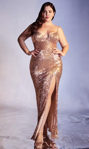 Cinderella Divine - CH180C Sequin Ornate High Slit Dress In Champagne Gold