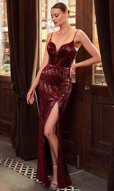 Cinderella Divine - CH180 Full Sequin High Slit Fitted Evening Gown In Red