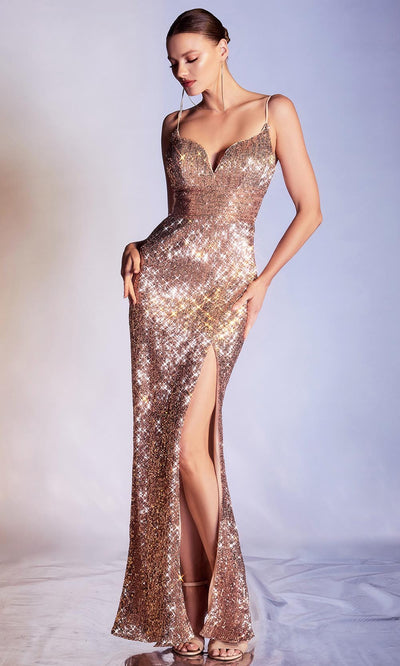 Cinderella Divine - CH180 Full Sequin High Slit Fitted Evening Gown In Champagne and Gold