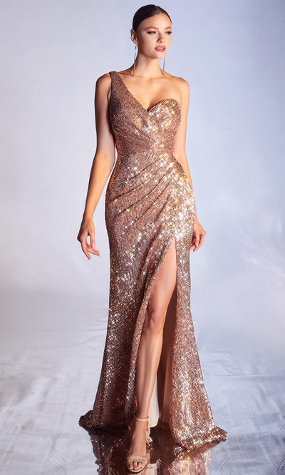 Cinderella Divine - CH182 Allover Sequin One Shoulder Sheath Dress In Champagne and Gold