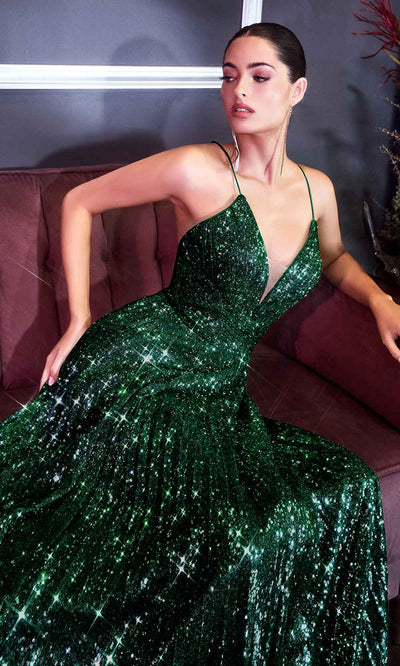 Cinderella Divine - CH189 Spaghetti Strap Sequin Pleated Dress In Green