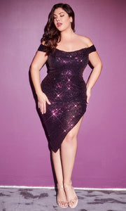 Cinderella Divine - CH190C Asymmetrical Hem Sequin Dress In Purple