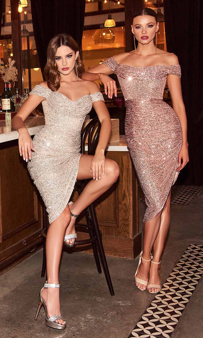 Cinderella Divine - CH190 Full Sequin Asymmetric Hem Cocktail Dress In Silver and Rose Gold