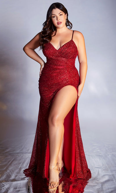 Cinderella Divine - CM8017C V Neck Glittery Slit Evening Gown In Red