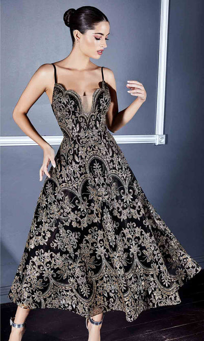 Cinderella Divine - CM8076 Modified Neckline Tea Length In Black and Gold