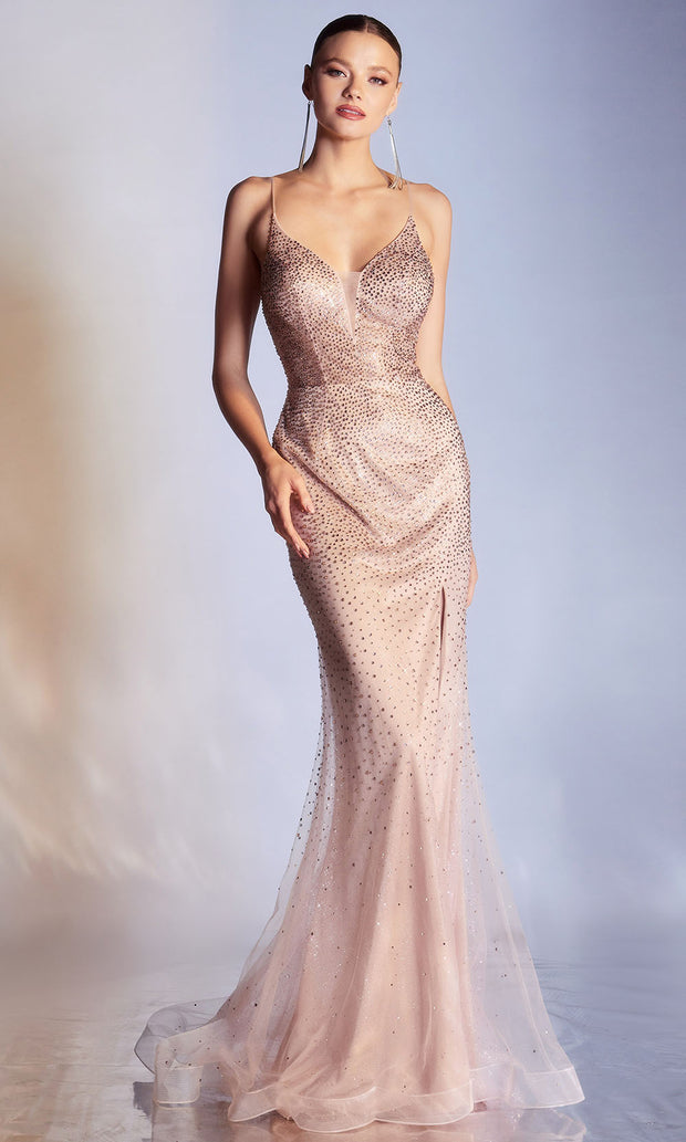 Cinderella Divine - CR861 Beaded Open Back Slit Gown In Pink and Gold