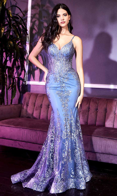 Cinderella Divine - J810 Embellished Corset Bodice Mermaid Gown In Blue