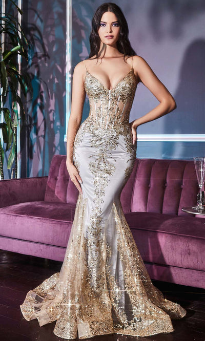 Cinderella Divine - J810 Embellished Corset Bodice Mermaid Gown In Champagne and Gold