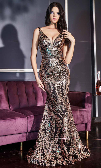 Cinderella Divine - J811 Glitter Printed Trumpet Gown Black and Gold