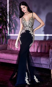 Cinderella Divine - KV1054 Gold Appliqued Illusion Mermaid Gown In Black