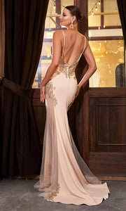 Cinderella Divine - KV1054 Gold Appliqued Illusion Mermaid Gown In Champagne and Gold