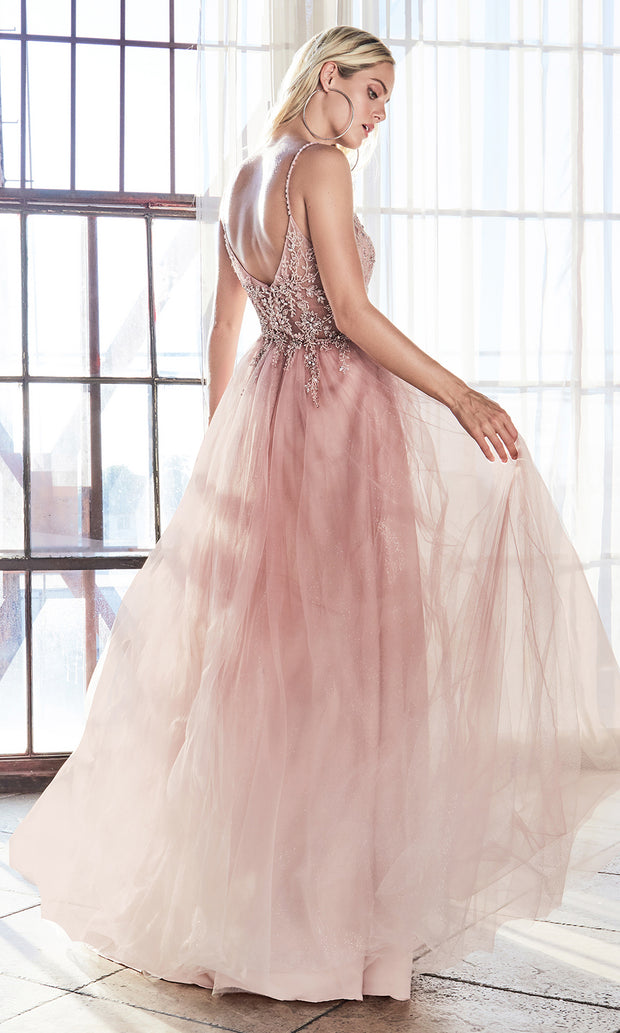 Cinderella Divine AM321 long blush pink flowy dress w/lace & strap. Light pink full length flowy evening dress is perfect for black tie event, prom, indowestern gown, wedding reception/engagement dress, formal wedding guest dress-B.Plus sizes avail.jpg