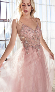 Cinderella Divine AM321 long blush pink flowy dress w/lace & strap. Light pink full length flowy evening dress is perfect for black tie event, prom, indowestern gown, wedding reception/engagement dress, formal wedding guest dress. Plus sizes avail-C.jpg