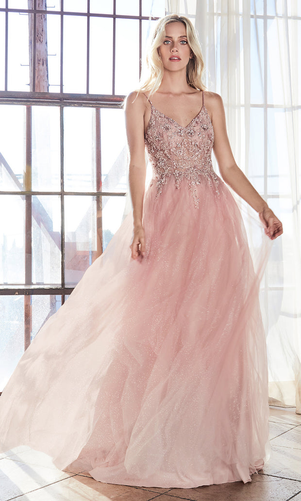 Cinderella Divine AM321 long blush pink flowy party dress w/lace & strap.Light pink full length flowy evening dress is perfect for black tie event, prom, indowestern gown, wedding reception/engagement dress, formal wedding guest dress.Plus sizes avail.jpg