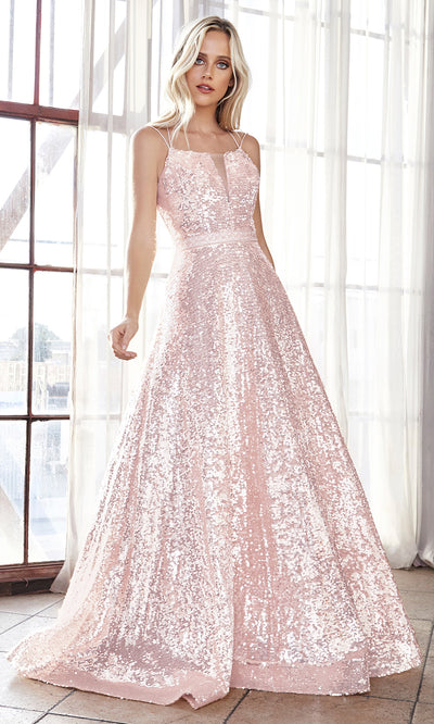 Cinderella Divine AM518 long blush pink scoop neck sequin beaded party dress.Light pink full length open back dress is perfect for black tie event, prom, indowestern gown, wedding reception/engagement dress, formal wedding guest dress.Plus sizes avail.jpg