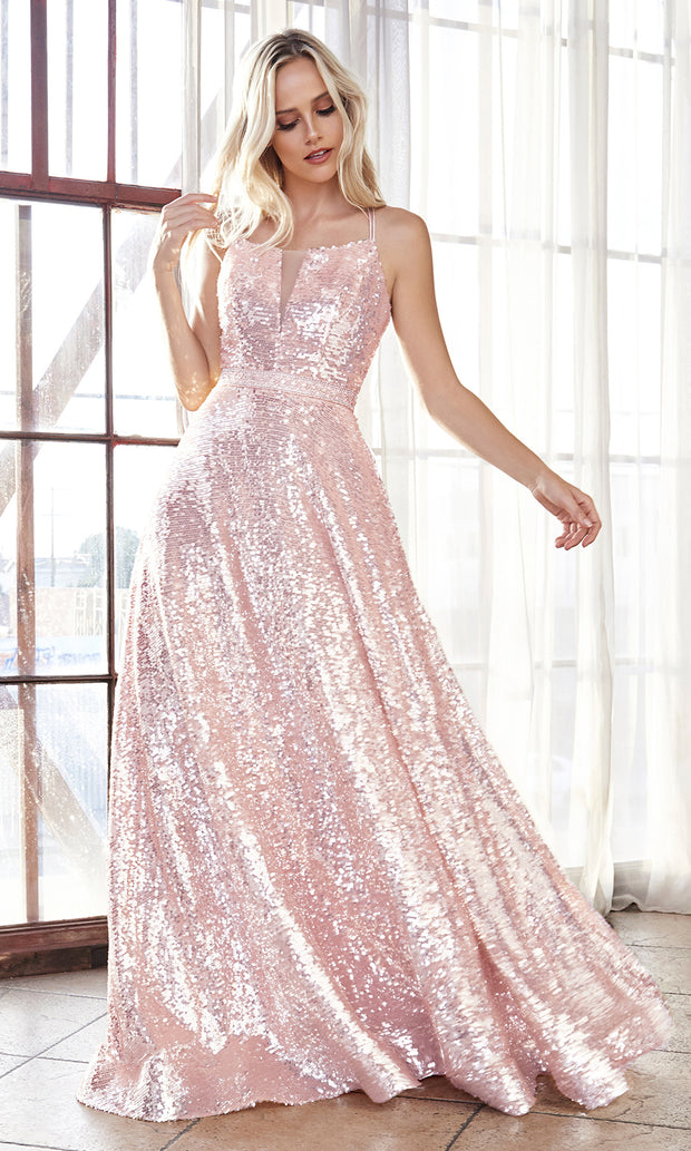Cinderella Divine AM518 long blush pink scoop neck sequin beaded party dress.Light pink full length open back dress perfect for black tie event,prom, indowestern gown, wedding reception/engagement dress, formal wedding guest dress.Plus sizes avail-2.jpg
