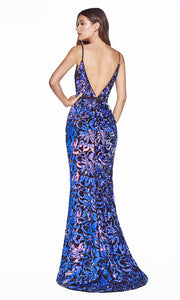 Cinderella Divine B60161 long black sexy v neck sequin dress w/low back. Sleek & sexy mermaid dress is perfect for black tie event,prom, indowestern gown, wedding reception/engagement dress, formal wedding guest dress.Plus sizes avail-b.jpg