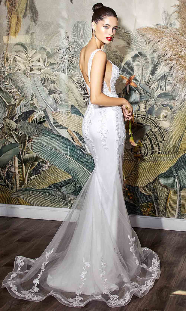Cinderella Divine Bridals - 9237W V Neck And Back Trumpet Bridal In White