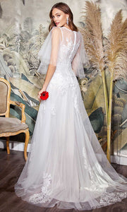 Cinderella Divine Bridals - CB070 Flutter Sleeve A-Line Bridal Dress In White