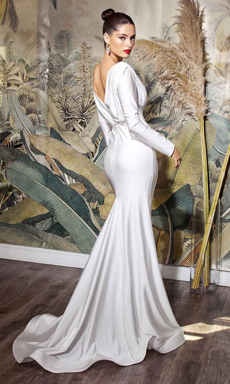 Cinderella Divine Bridals - CD0169 Long Sleeve Plain Sexy Dress In White
