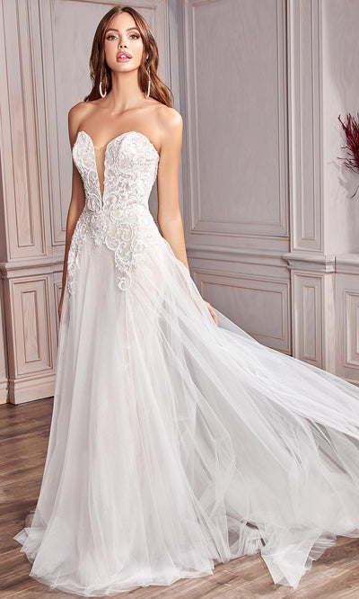 Cinderella Divine Bridals - CD936W Appliqued A-Line Bridal Gown In White and Ivory