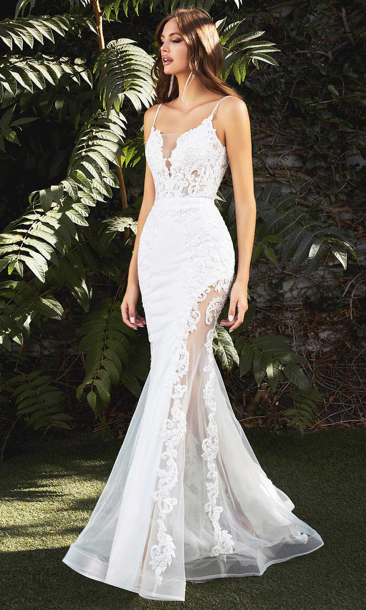 Cinderella Divine Bridals - CD937W Lace Applique Mermaid Bridal Gown In White and Ivory