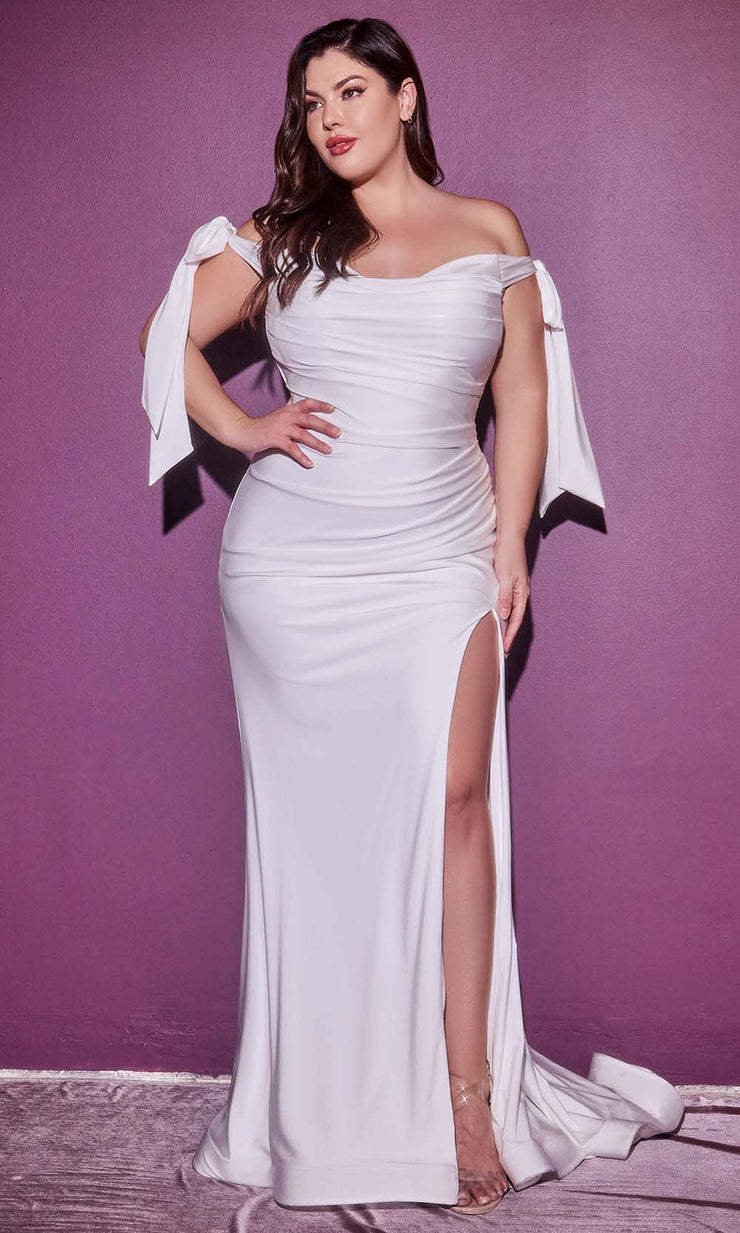 Cinderella Divine Bridals - CD944WC Off Shoulder Ruched Gown With Slit In White