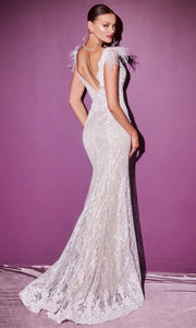 Cinderella Divine Bridals - CD952 Fur Sleeve Beaded Slit Gown In White