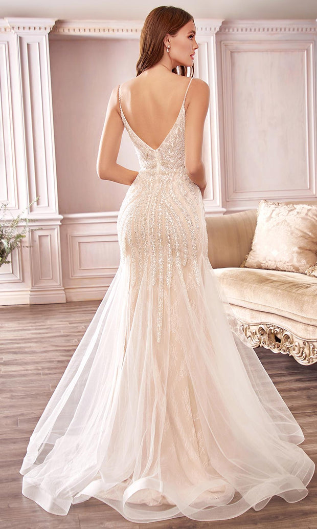 Cinderella Divine Bridals - CDS401 Plunging Neck Beaded Trumpet Gown In White