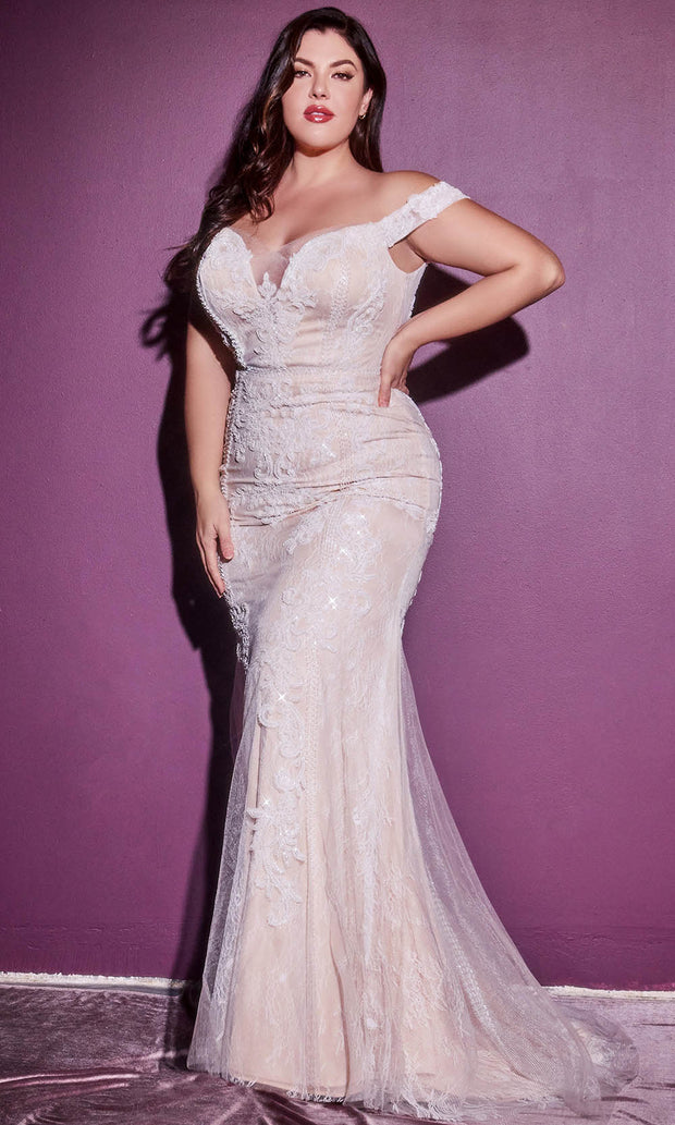 Cinderella Divine Bridals - CDS402C Off Shoulder Embellished Dress In White