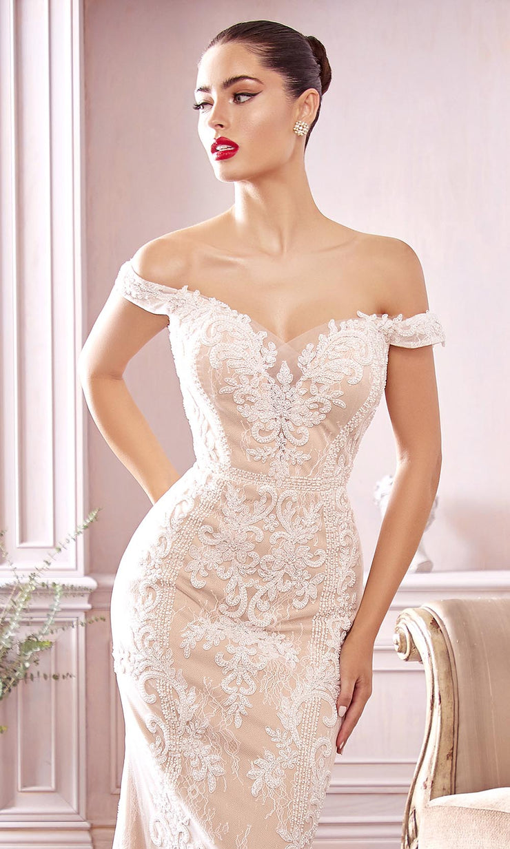 Cinderella Divine Bridals - CDS402 Off Shoulder Embellished Gown In White