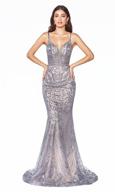 Cinderella Divine C24 long dusty blue sequin glitter v neck dress w/straps. Sleek & sexy dress is perfect for black tie event, prom, indowestern gown, wedding reception/engagement dress, formal wedding guest dress. Plus sizes avail.jpg