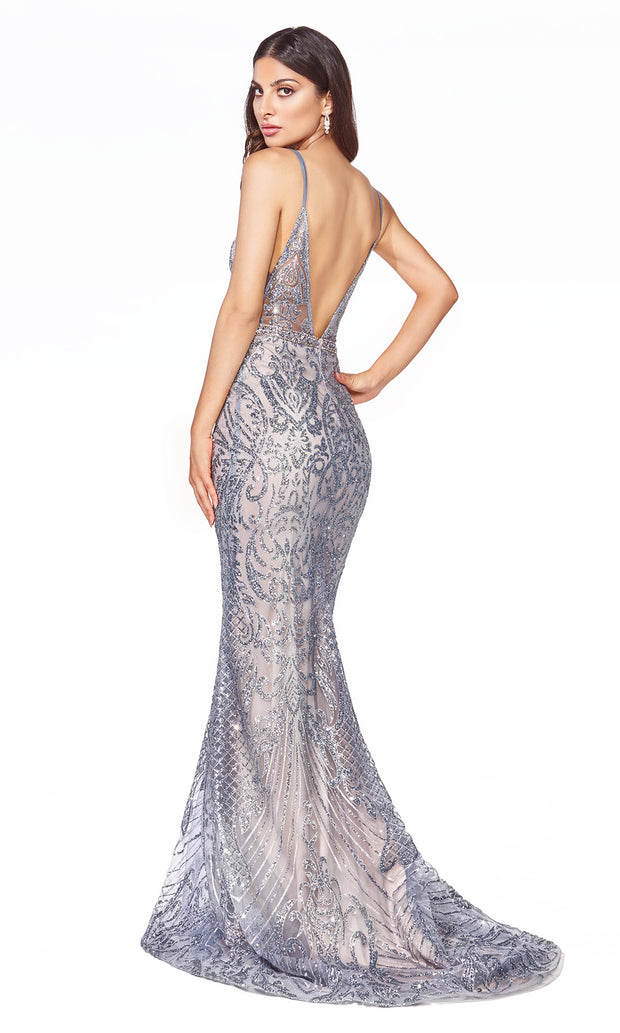 Cinderella Divine C24 long dusty blue sequin glitter v neck dress w/straps. Sleek & sexy dress is perfect for black tie event, prom, indowestern gown, wedding reception/engagement dress, formal wedding guest dress. Plus sizes avail-b.jpg
