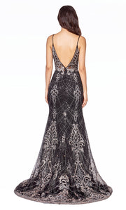 Cinderella Divine C27 long black sequin lace dress with straps & low back-back of dres.jpg
