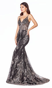 Cinderella Divine C27 long black sequin lace dress with straps & low back-side shot of dress.jpg