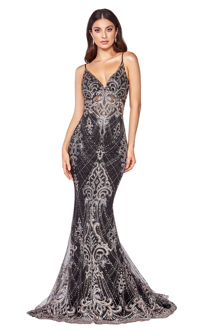 Cinderella Divine C27 long black sequin lace dress with straps & low back.jpg